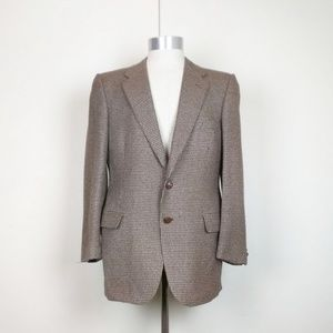 Lanvin Brown Tan Houndstooth Two Button Jacket